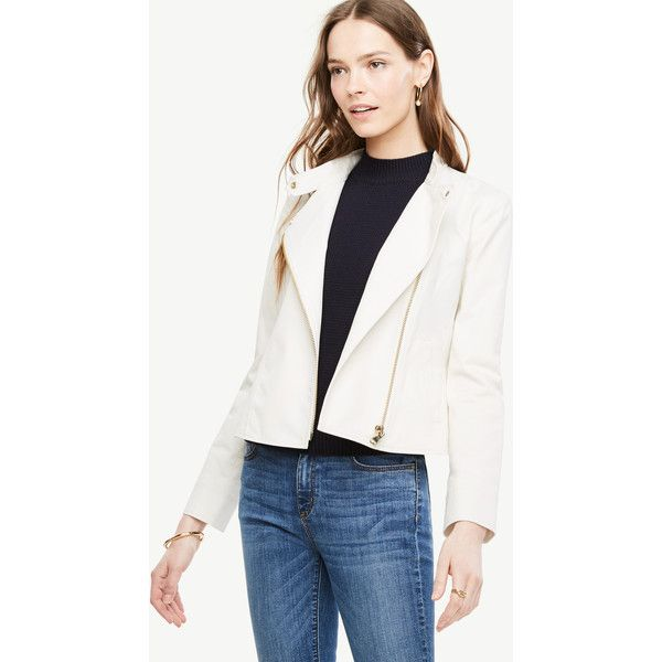 Ann Taylor Twill Flounce Moto Jacket ($139) ❤ liked on Polyvore featuring outerwear, jackets, winter white, long jacket, long sleeve jacket, long moto jacket, long white jacket and summer motorcycle jacket