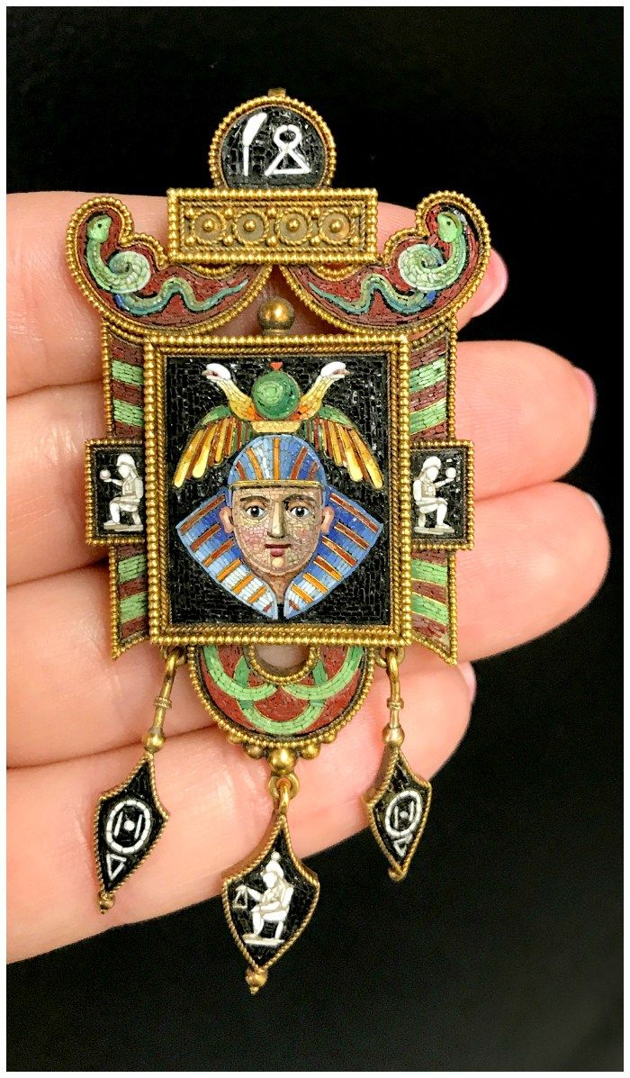 An utterly fantastic masterpiece of micromosaic jewelry. An example of Egyptian Revival jewelry from the Victorian era. Spotted at Joden.