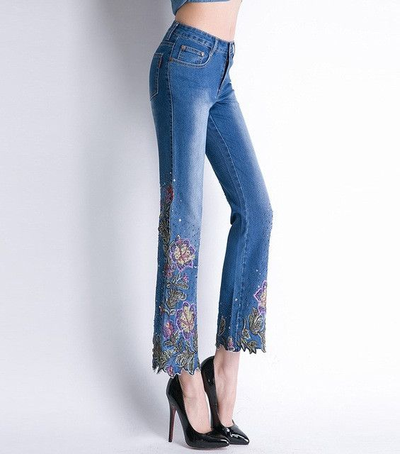 Color Bead Embroidery Stretching Jeans With Embroidery Women Straight Jeans 535