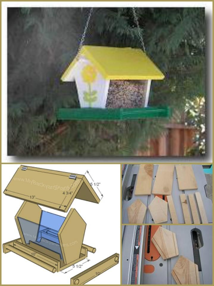hand-built wooden bird feeder