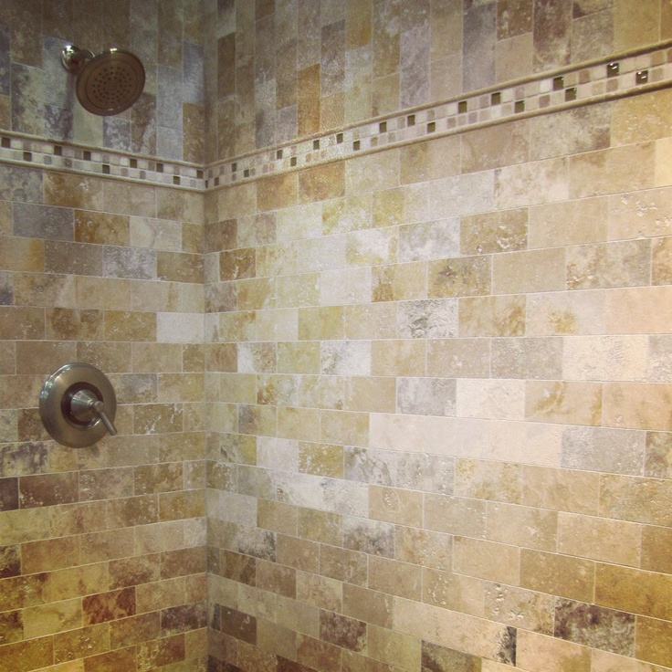 A luxurious travertine shower subway tile thetileshop