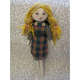 Grey Dress Fabric Doll