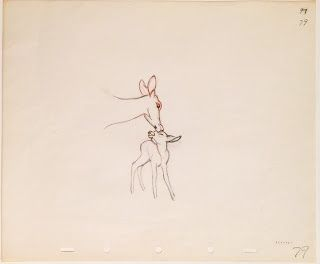 "Original production animation drawing in red and graphite pencils of Bambi and his Mother from ""Bambi,"" 1942, Walt Disney Studios; Numbered 79 in pencil lower right; Size - Bambi & Mother: 4 3/4 x 3"", Sheet: 10 x 12""; Unframed."