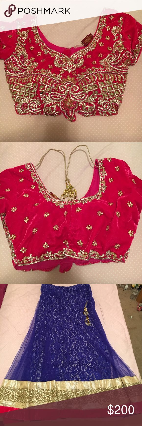 Indian Saree or Sari This is a traditional Indian Saree. Consists of 3 pieces including a completely jeweled pink top, a skirt and an Indian scarf. Only worn once. Size 40 which in the us calculates to a medium. Skirt is adjustable and tightens to anyone with a waist up to 40 inches Dresses Wedding