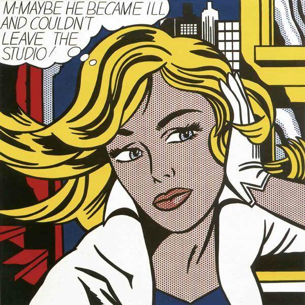 Reproduction de Roy Lichtenstein, M-Maybe (Peut être). Tableau peint à la main dans nos ateliers. Peinture à l'huile sur toile.