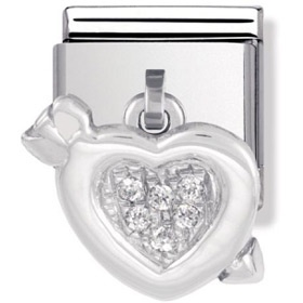 Nomination Charm Heart With Arrow Pendant   Contemporary Jewellery at Affordable Prices   Xen Jewellery Design