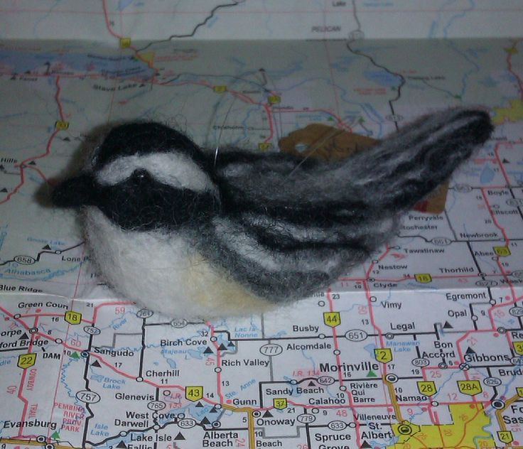"""""""Zippy"""" the Chickadee; 2014; needle felted sculpture by Holly Boone of Polar Lights Art Studio. Currently located at the Alberta Craft Council. - SOLD! http://polarlightsart.wix.com/plas#!hollys-work/cq0w"""