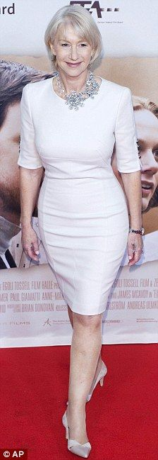 Helen Mirren is all white on the night as she shows off svelte figure at Berlin…