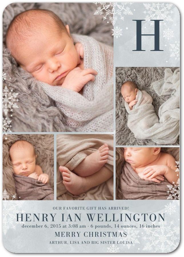 Wintry Monogram: Smoke - Winter Boy Birth Announcements in Smoke | Hello Little One