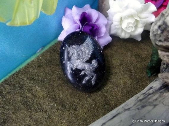Handmade resin unicorn galaxy glitter oval brooch by LianaMarcel, $13.75