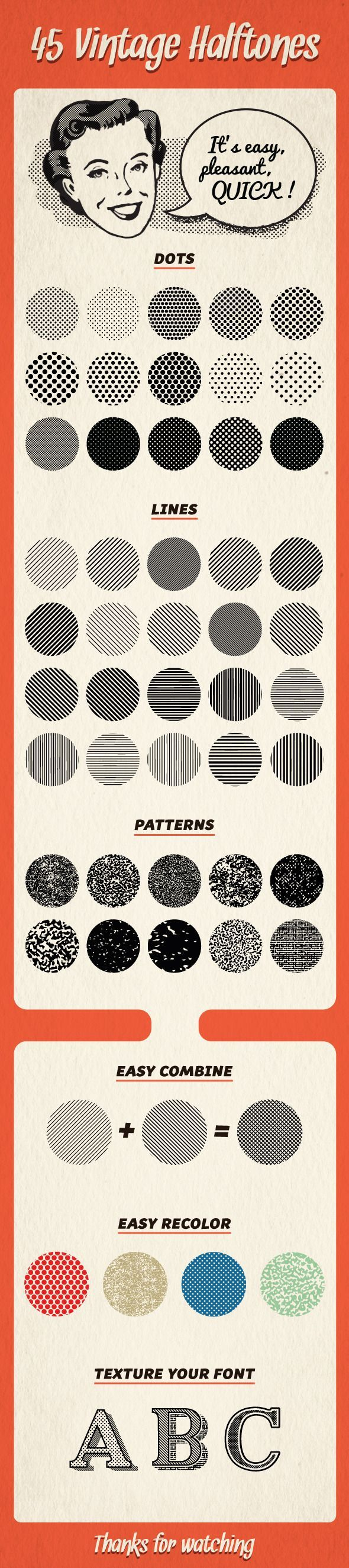 45 Halftones Pattern - Textures / Fills / Patterns Illustrator: