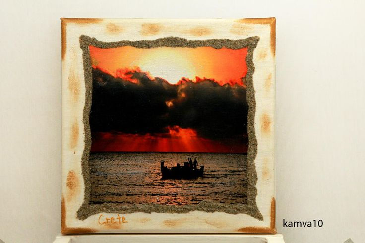 Wall frame, cotton camvas panel 20x20, with dreaming places of Crete in Greece. Decoupage techic,hand made. by edsArtists on Etsy