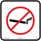 12 in. x 12 in. No Smoking Sign Printed on More Durable, Thicker, Longer Lasting Styrene Plastic, White With Black And Red Printing