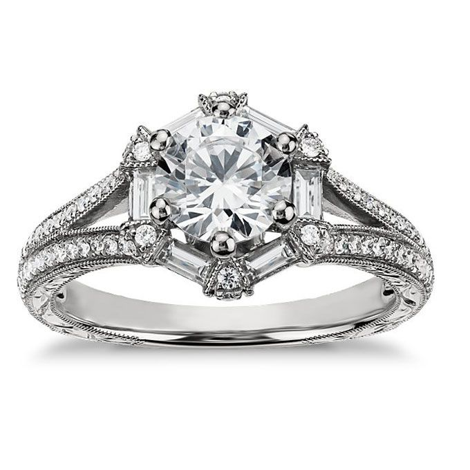 Unique Style vintage hexagon shaped engagement ring set in
