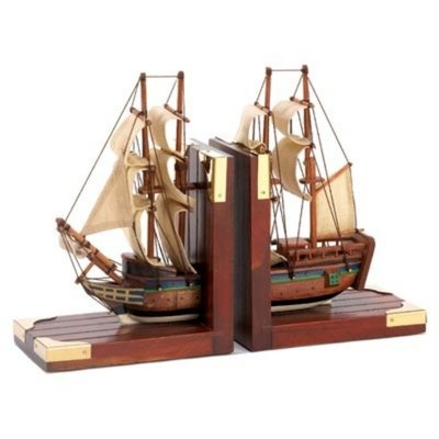 Detailed Scale Model Sailing Ship Schooner BookendsWonderful for Den  Study or Home Office