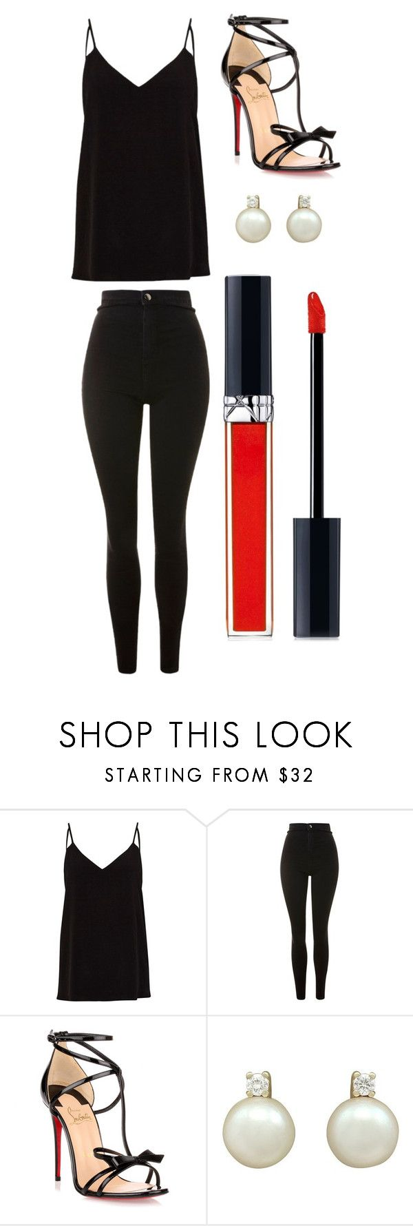 """""""Sans titre #10509"""" by merveille67120 ❤ liked on Polyvore featuring River Island, Topshop, Christian Louboutin and Christian Dior"""