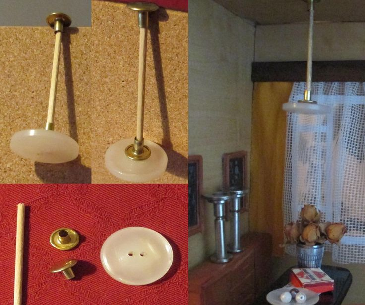 "button as wall lamp in Poirot s work room - I really should make my ""button board"" :-)"