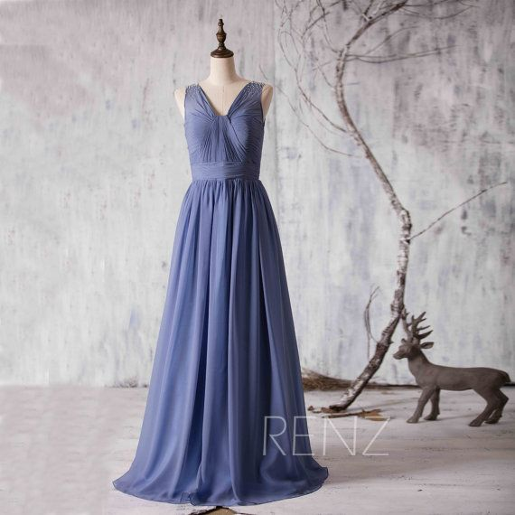 2015 Steel Blue Bridesmaid dress Long Chiffon Blue by RenzRags