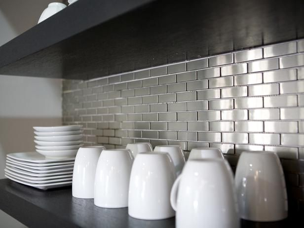 A metal tile backsplash gives attractive, durable protection to your walls.