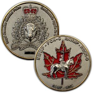 $14.99 RCMP Regimental Coin. This coin features a rectangular area for engraving for the perfect personalized gift.
