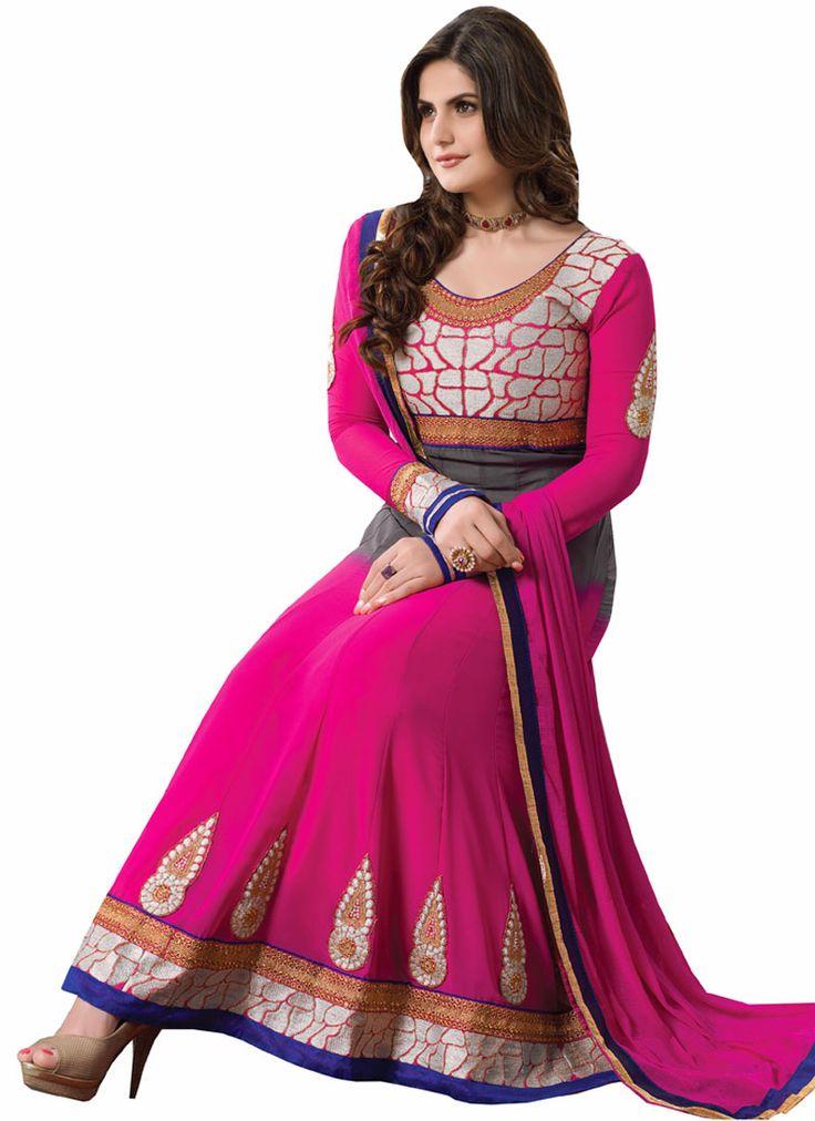 Zareen Khan Pink Embroidery Work Anarkali Suit, Product Code :5852, shop now http://www.sareesaga.com/zareen-khan-pink-embroidery-work-anarkali-suit-5852 Email :support@sareesaga.com What's App or Call : +91-9825192886