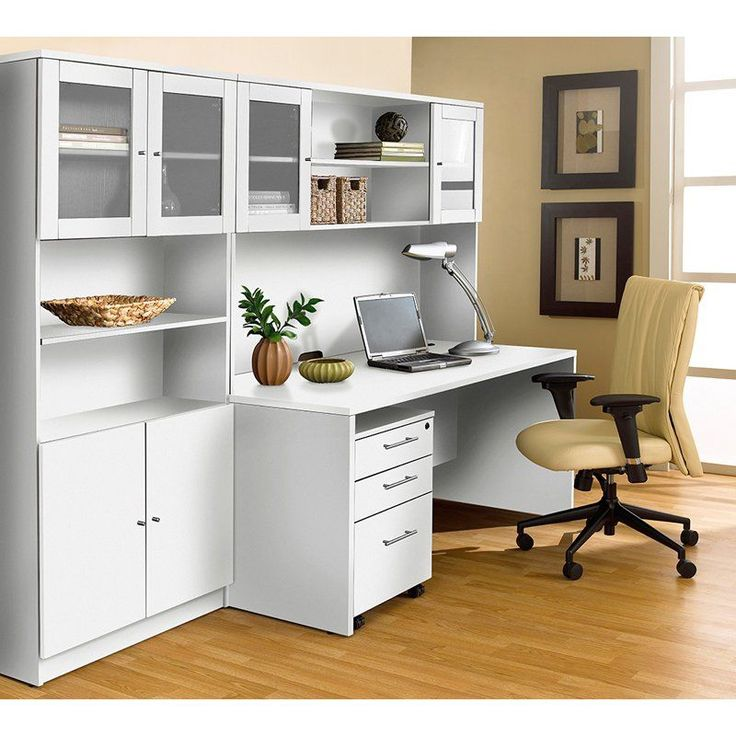 Unique Furniture 100 Collection Executive Office Desk with Hutch and Bookcase - 1C100006MWH