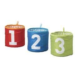 KUSINER, Storage basket, turquoise, green/red