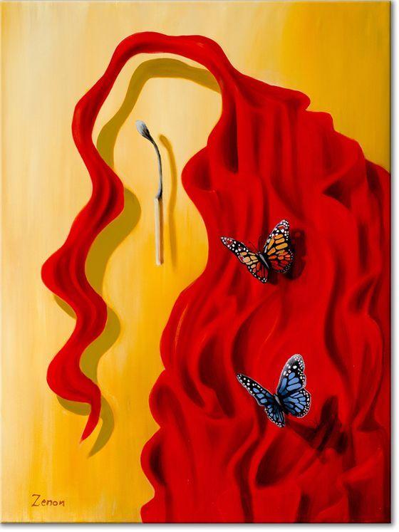 Is dit een rode doek of moet het iets anders voorstellen.Zijn het de rode lange haren van een vrouw en moeten wij het gezicht er zelf bij denken.Het is in ieder geval een prachtig kunstwerk geworden met felle kleuren en twee mooie vlinders.