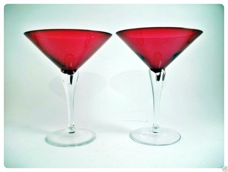 2 Morgantown Spanish Yale A Ruby Red Martini Goblets European Hand Blown Stems