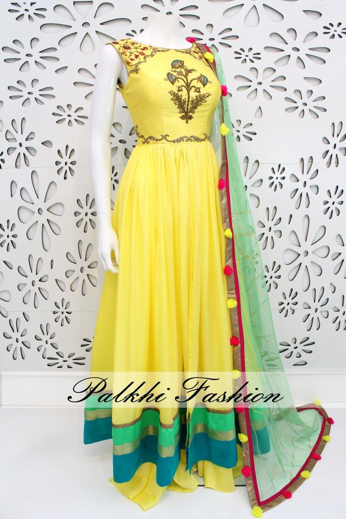 PalkhiFashion Exclusive Full Flair Light Yellow Satin Silk Outfit with palazzo Pant.