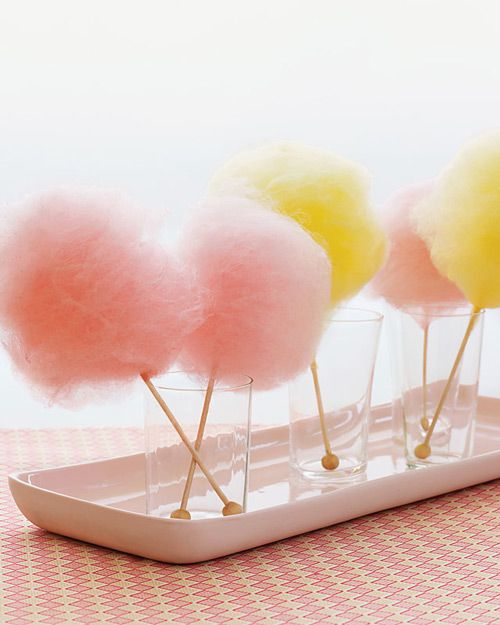 mini cotton candy fluffs on sticks of rock candy - love!