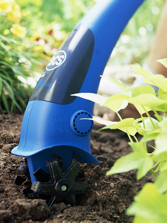 This handy power tool loosens soil in small garden spaces and is especially useful for cultivating around pre-existing plants and shrubs. Test Garden Tip: A small cultivator works best in soft soil. If you're dealing with hard, compact soil or you have a large work space, a tiller might be a better option.