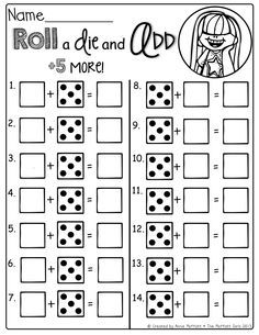 Roll a die and add 5 more! tweek this for kindergarten...+ one more and + 2 more