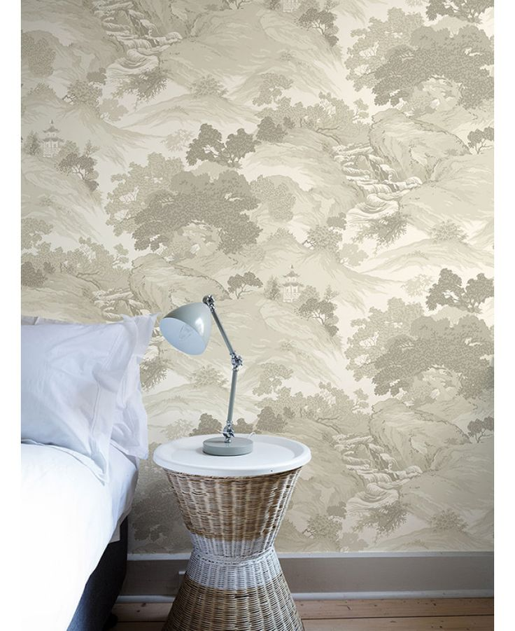 The Crown Archives Oriental Landscape Wallpaper in beige, taupe and cream is a modern take on a classic wallpaper with subtle metallic highlights. Free UK delivery available
