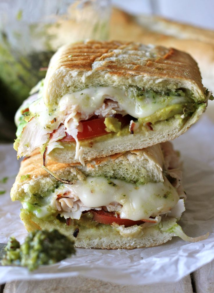 Turkey Pesto Panini - Loaded with homemade pesto, turkey, avocado and ...