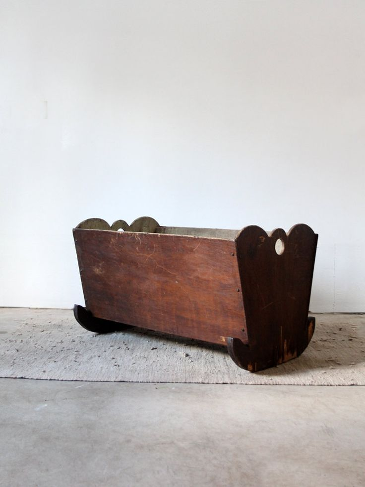 Antique Wood Baby Bed / Rocking Crib by 86home on Etsy, $350.00