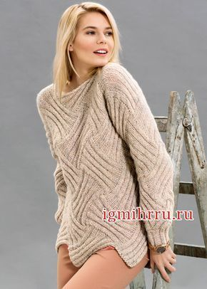 Эффектный бежевый пуловер, связанный в технике Энтерлак Вязание спицами Не стоит бояться сложной, на первый взгляд, техники энтерлак,в которой ромбы или прямоугольники вяжутся в разныхнаправлениях.…
