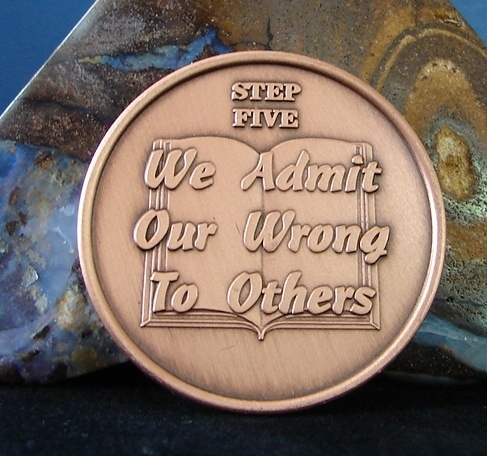 Solid Copper Alcoholics Anonymous AA Step 5 Medallion NA Narcotics Alanon WEND