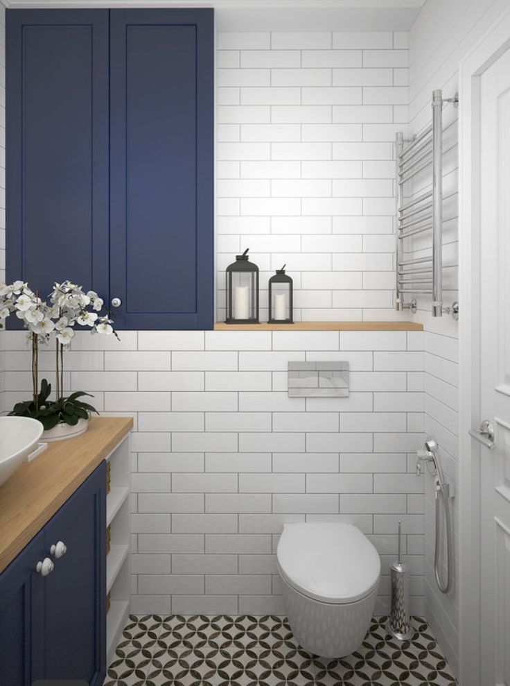 White and blue Bathroom. Simple elegant timeless