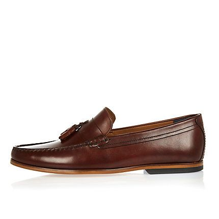 Dark brown leather tassel loafers £50.00