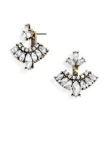 Intricate Crystals hug your earlobe perfectly in these sparkly ear jackets. Type: Ear Jacket Materials: Gold Plated, Crystals