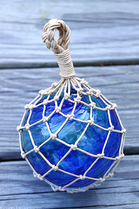 Hand-tied glass fishing float net - hand tied by @RuthBleakley, using a hand-blown glass ball made by @Bryan Randa