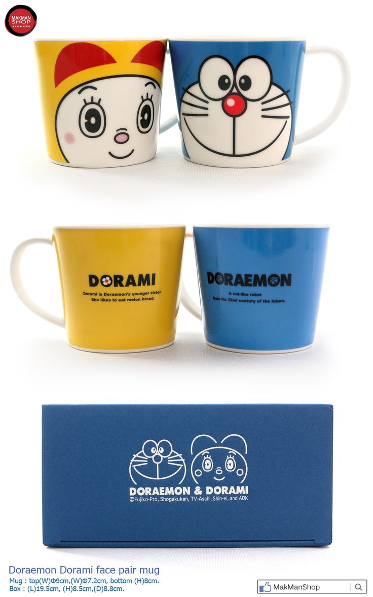Doraemon Dorami face ceramics pair mug cup  made in Japan  by kaneshotoki    #Doraemon #Dorami #face #pairmug #cup #mug #叮噹 #多啦A夢 #多啦美 #瓷杯 #ceramics