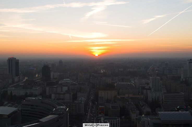 Sunset - view from the 30th floor of Palace of Culture and Science.  Warsaw Poland