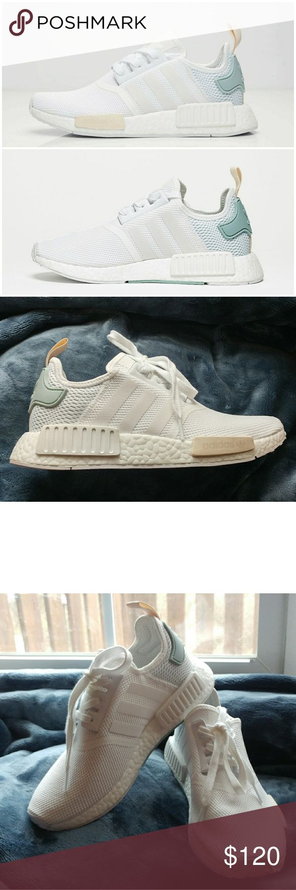 Adidas NMD R1 *RARE* ** PLEASE NOTE, THESE ARE NO LONGER BEING MADE/SOLD. THEY ARE CURRENTLY BEING RESOLD FOR $200 - $700+**  I got these for Christmas but they aren't really my style, sneakers have never been worn outside. There is a slight stain (see last picture) which I think was from me applying make-up prior to trying these on, but with a little bit of clean up work it can be removed. These are brand new with no box, one of the shoes still has the cardboard in it to keep its shape…