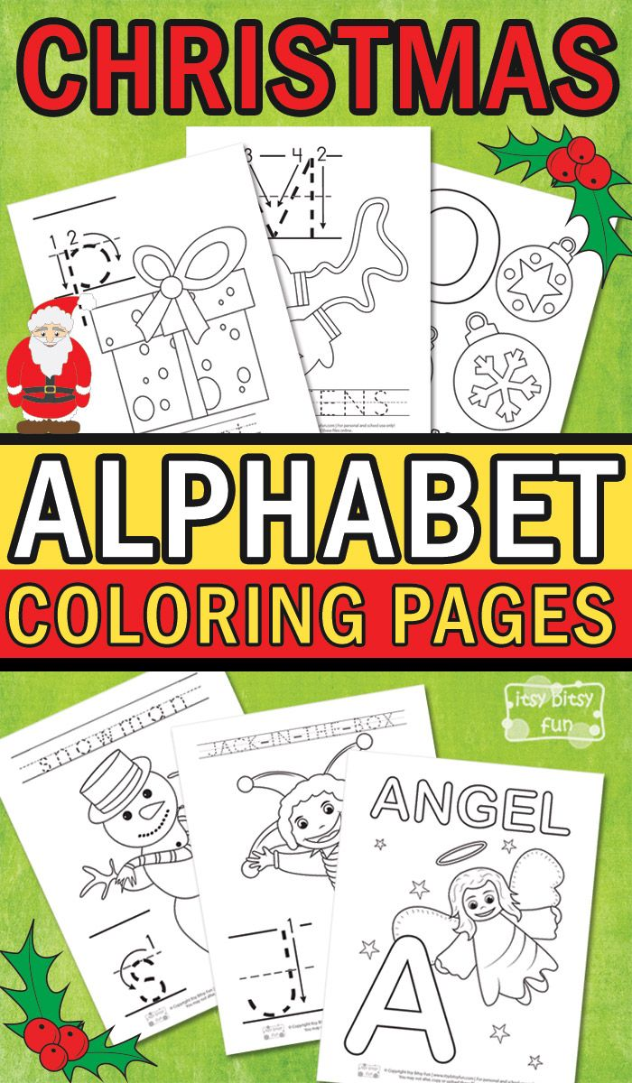 Free Printable Christmas Alphabet Coloring Pages. Super fun Christmas activity for kids.