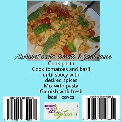 28 dae eetplan: Pasta with tomato and basil sauce