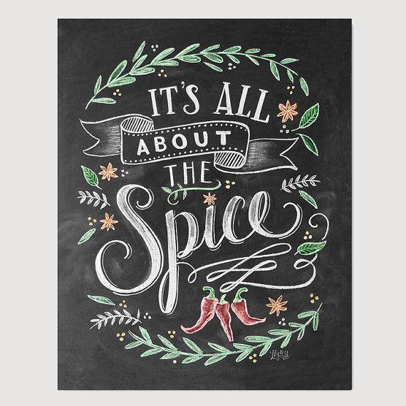 Alles über die Spice-Print  Küche  Kitchen-Wall-Art  von LilyandVal Chalklettering, chalk, lettering, typography #chalklettering #chalk #lettering #typography