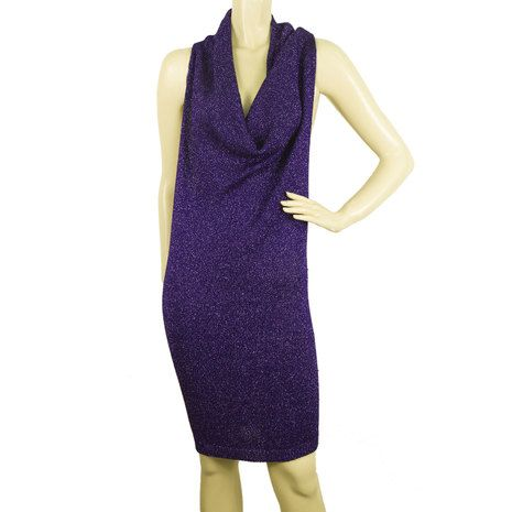 Consuelo Casali Purple Metallic Cowl Neck Bodycon Above Knee Sleeveless Dress 42