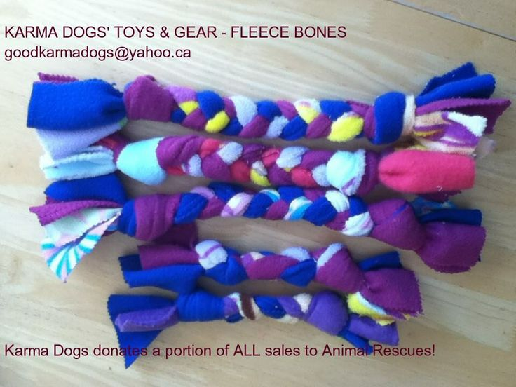 'Karma Dog Fleece Toys'~Hand Made with Love in the Weave, are dog tested to be super durable, machine washable & are made by two young Karma Girls & their Yogini/Dog Walking Mom. Started to help raise funds for a dog in need,  donate a portion of all sales to help rescue dogs & love working with FMHR in their efforts to help save One Dog at a Time! Wishing you always, Peace, Love and Good Karma!  Karma Fleece Bones: Small ~ $5, Medium~ $7. Large ~ $9  *Orders, goodkarmadogs@yahoo.ca